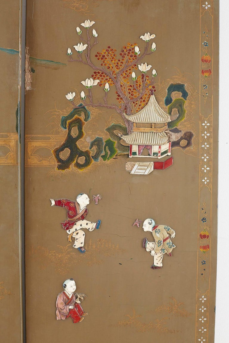Chinese Export Six-Panel Hardstone Lacquered Fertility Screen For Sale 13