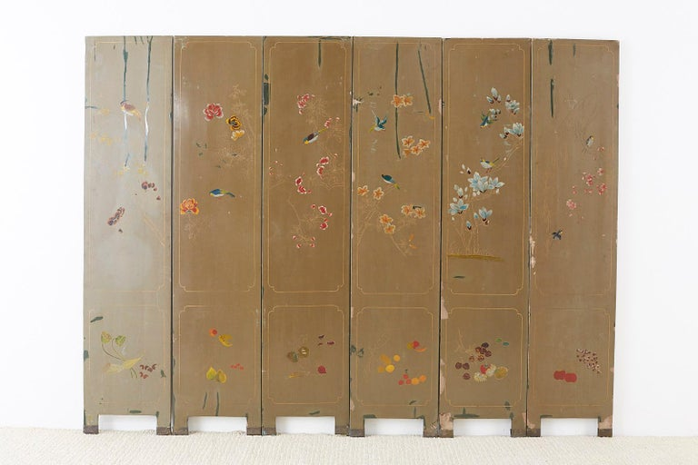 Chinese Export Six-Panel Hardstone Lacquered Fertility Screen For Sale 14