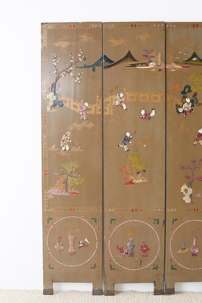 Gilt Chinese Export Six-Panel Hardstone Lacquered Fertility Screen For Sale