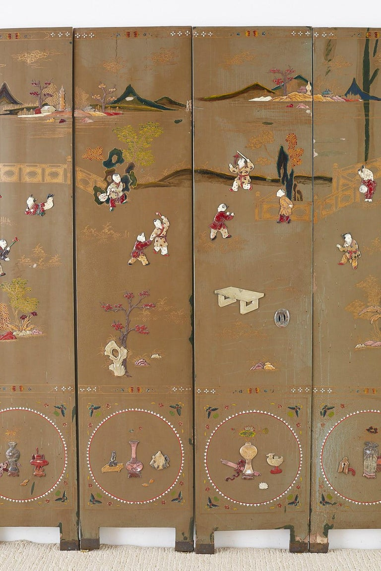 Chinese Export Six-Panel Hardstone Lacquered Fertility Screen In Distressed Condition For Sale In Oakland, CA