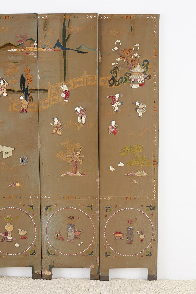 20th Century Chinese Export Six-Panel Hardstone Lacquered Fertility Screen For Sale