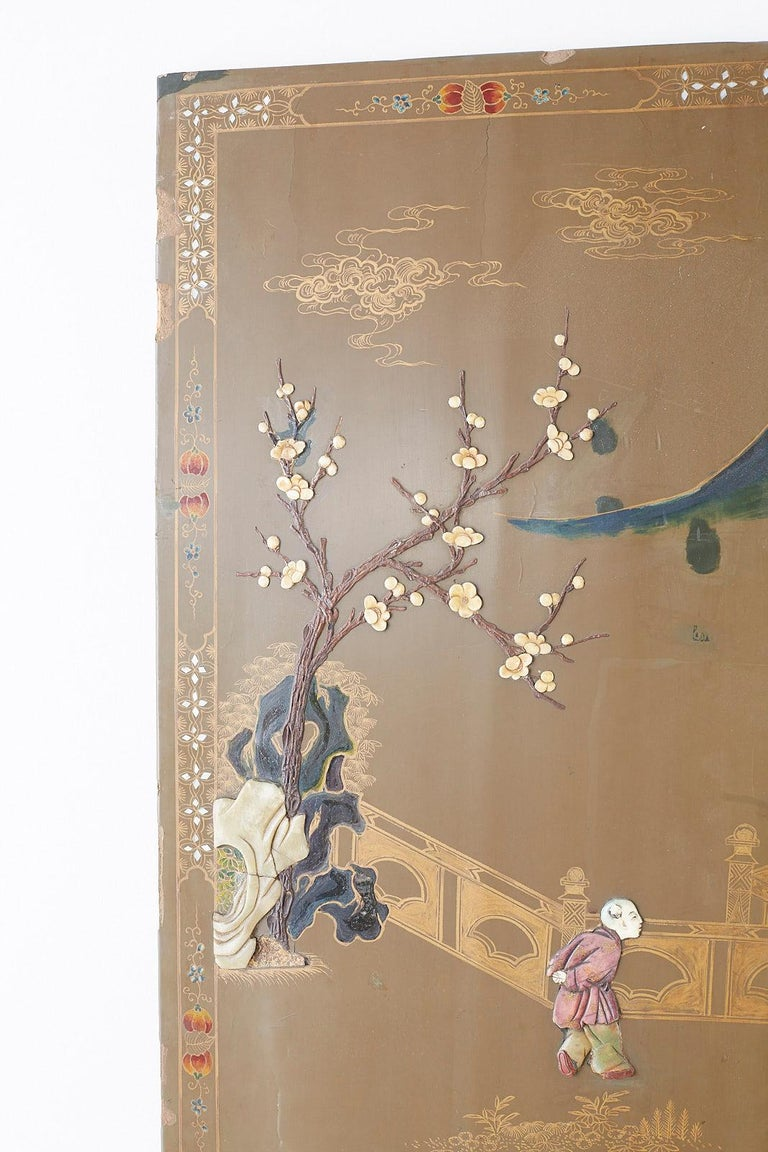 Brass Chinese Export Six-Panel Hardstone Lacquered Fertility Screen For Sale