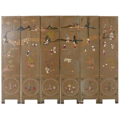 Chinese Export Six-Panel Hardstone Lacquered Fertility Screen