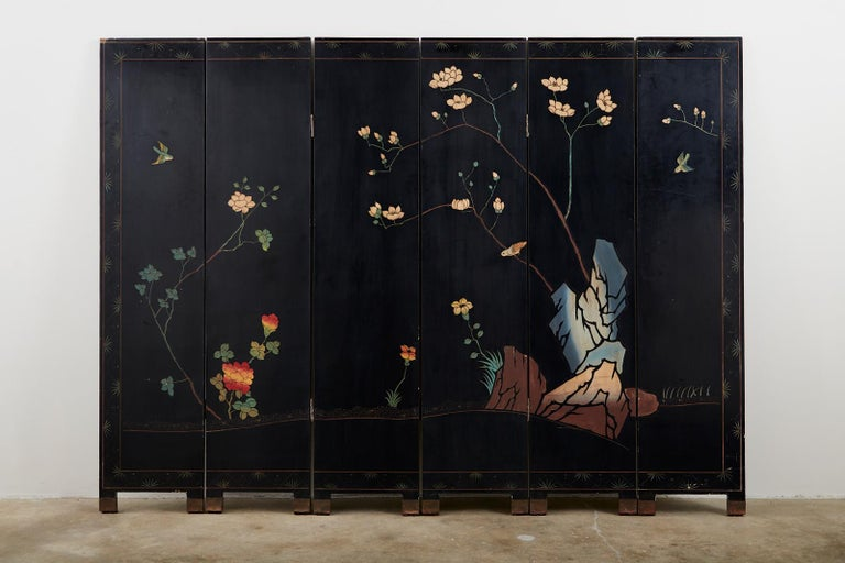 Chinese Export Six-Panel Lacquered Coromandel Screen 10