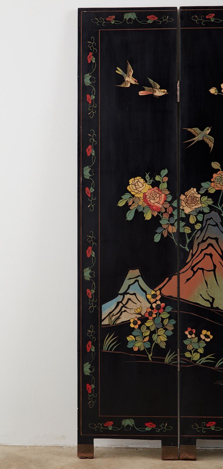 Hand-Crafted Chinese Export Six-Panel Lacquered Coromandel Screen