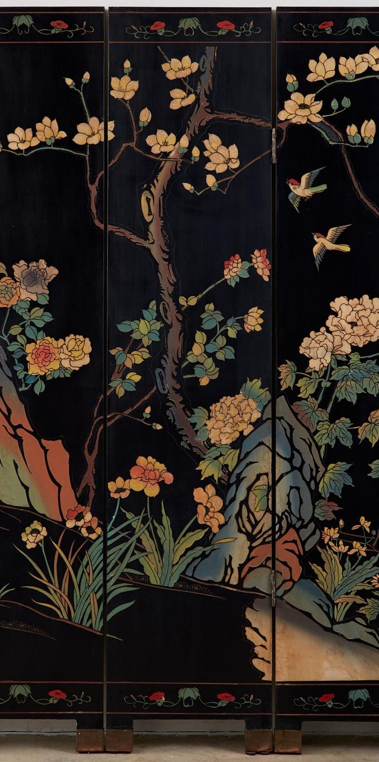 20th Century Chinese Export Six-Panel Lacquered Coromandel Screen