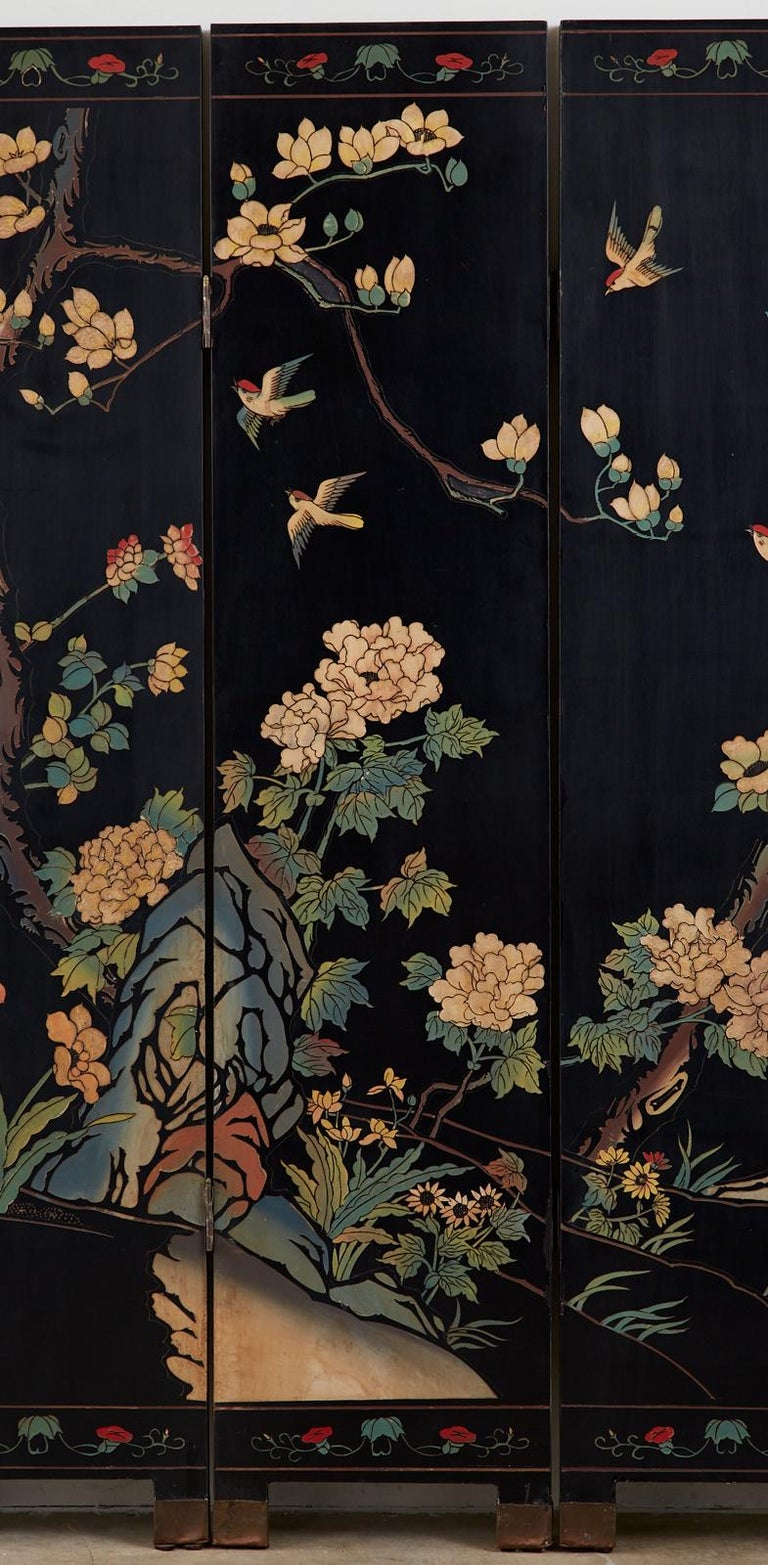 Brass Chinese Export Six-Panel Lacquered Coromandel Screen