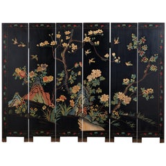 Chinese Export Six-Panel Lacquered Coromandel Screen