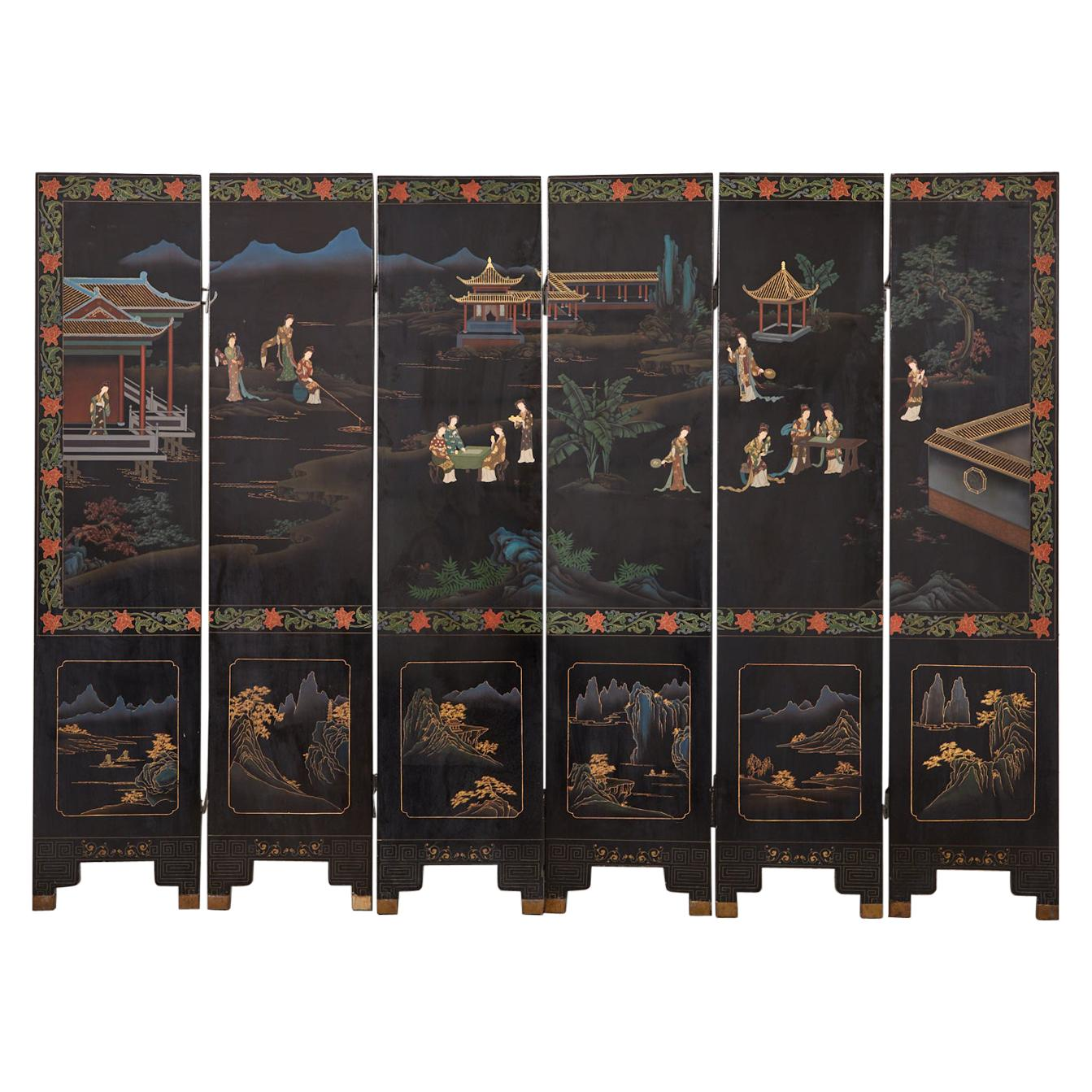 Chinese Export Six Panel Lacquered Coromandel Screen