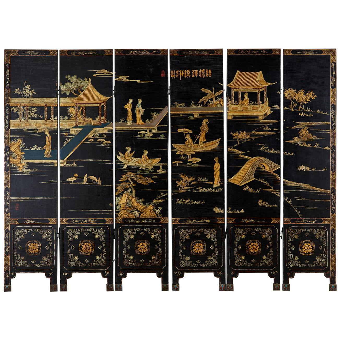 Chinese Export Six-Panel Lacquered Coromandel Style Screen