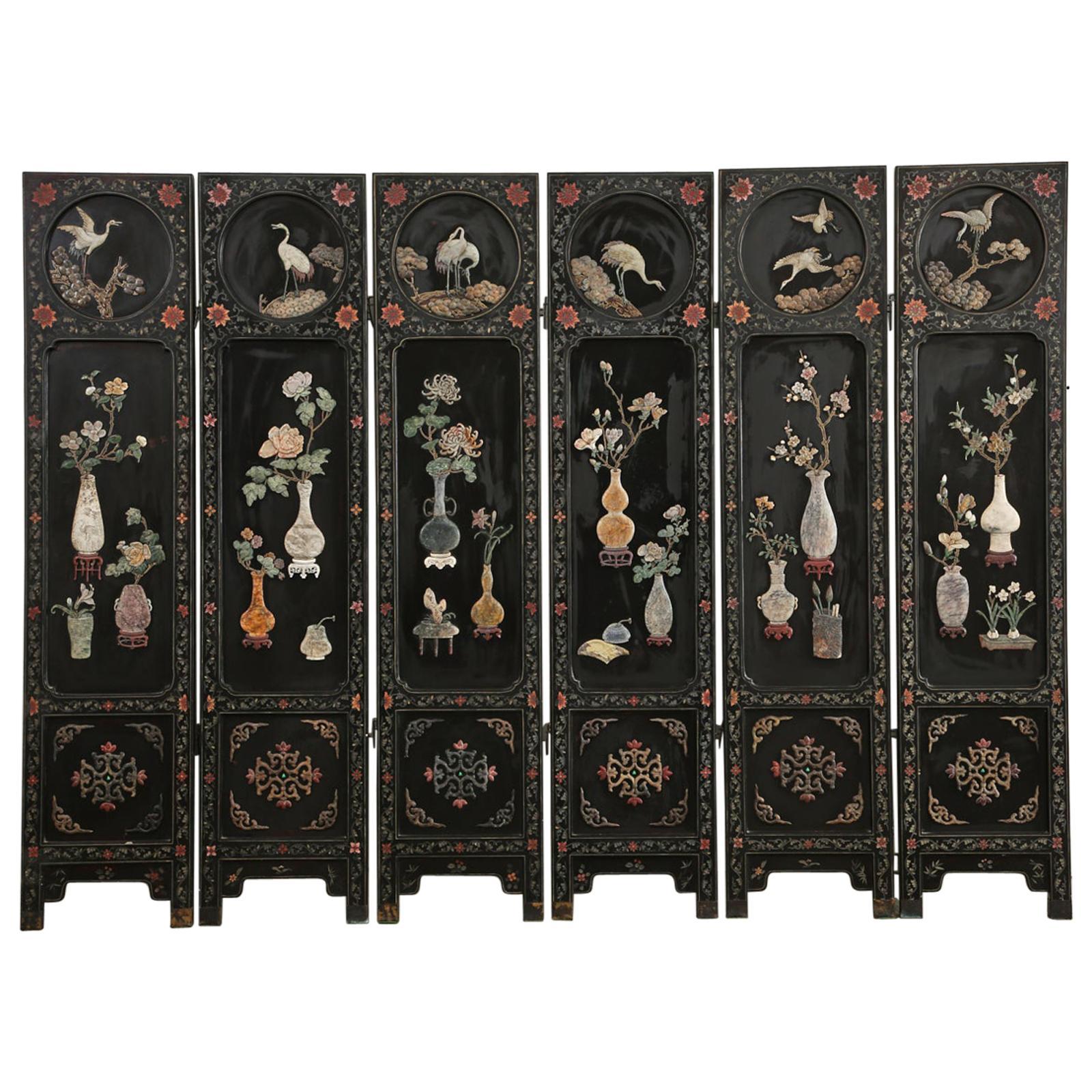 Chinese Export Six Panel Lacquered Hard Stone Coromandel Screen