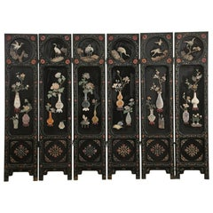 Chinese Export Six Panel Lacquered Hard Stone Coromandel Screen