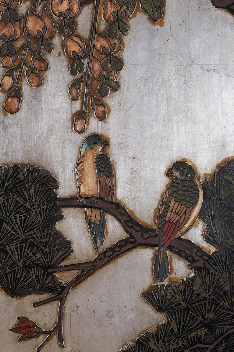 Chinese Export Six-Panel Silver Leaf Coromandel Screen For Sale 5