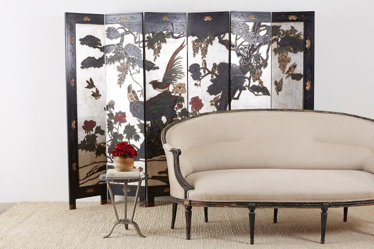 Chinese Export Six-Panel Silver Leaf Coromandel Screen For Sale 7