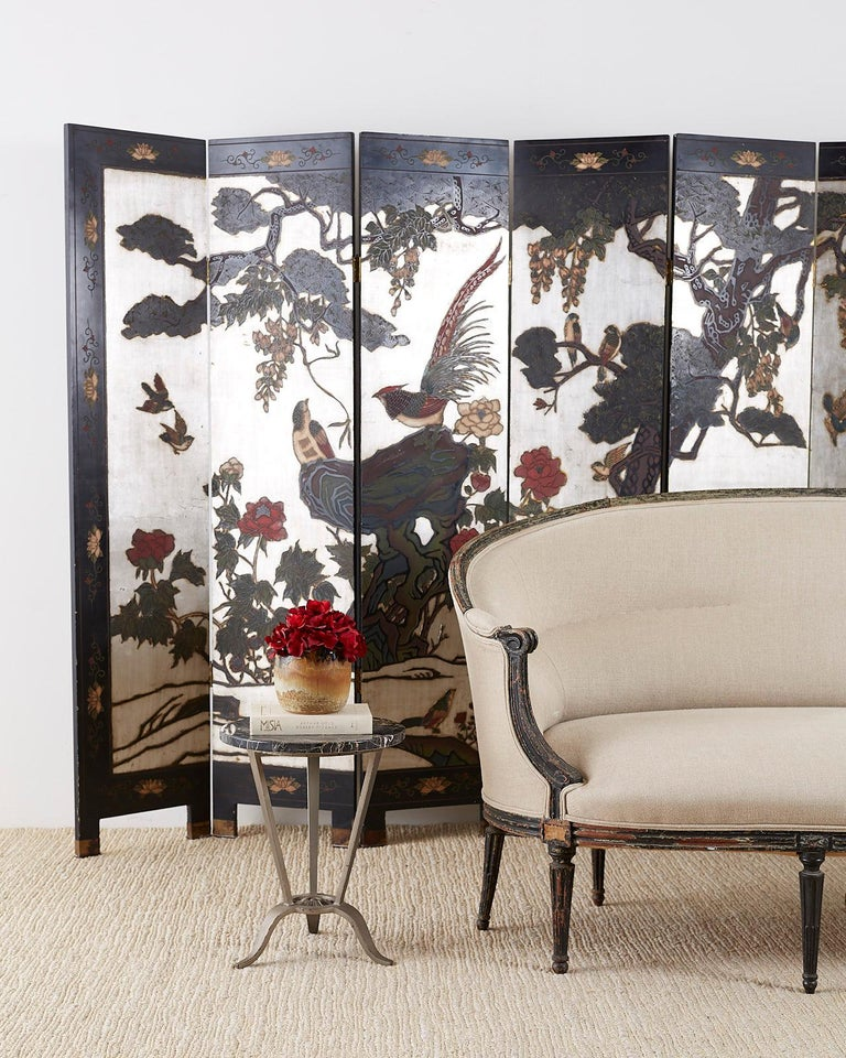 Chinese Export Six-Panel Silver Leaf Coromandel Screen For Sale 8
