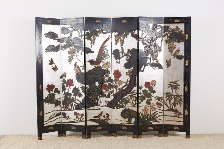 Chinese Export Six-Panel Silver Leaf Coromandel Screen For Sale 9