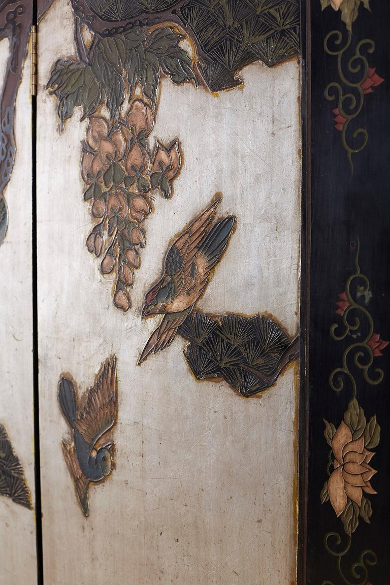 Chinese Export Six-Panel Silver Leaf Coromandel Screen For Sale 10