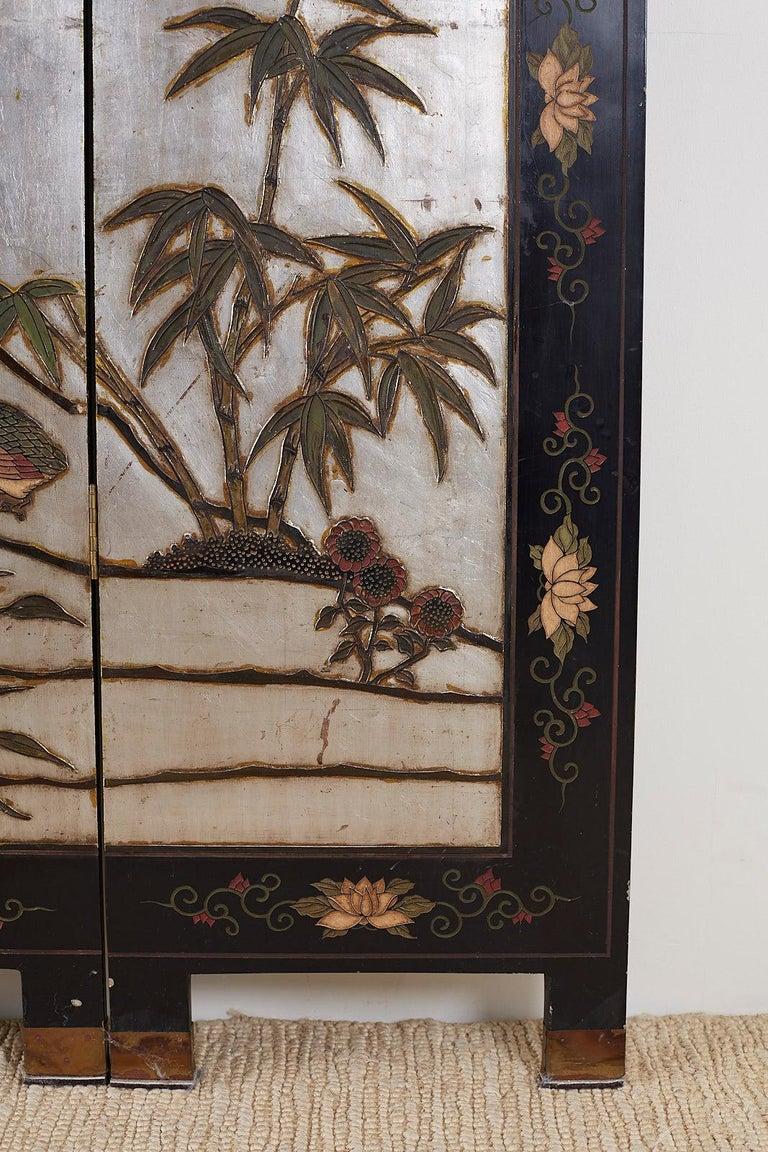 Chinese Export Six-Panel Silver Leaf Coromandel Screen For Sale 11