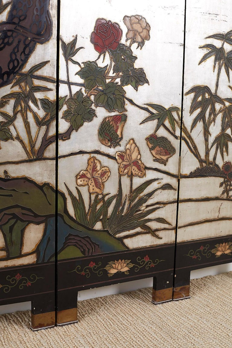 Chinese Export Six-Panel Silver Leaf Coromandel Screen For Sale 13
