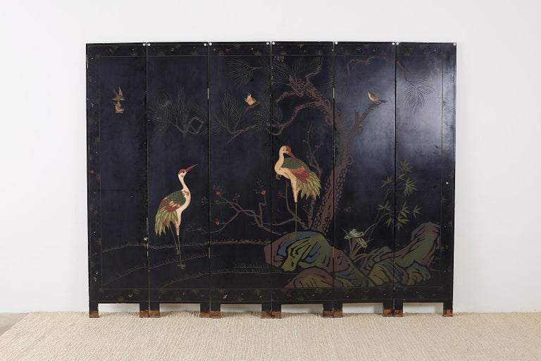 Chinese Export Six-Panel Silver Leaf Coromandel Screen For Sale 15