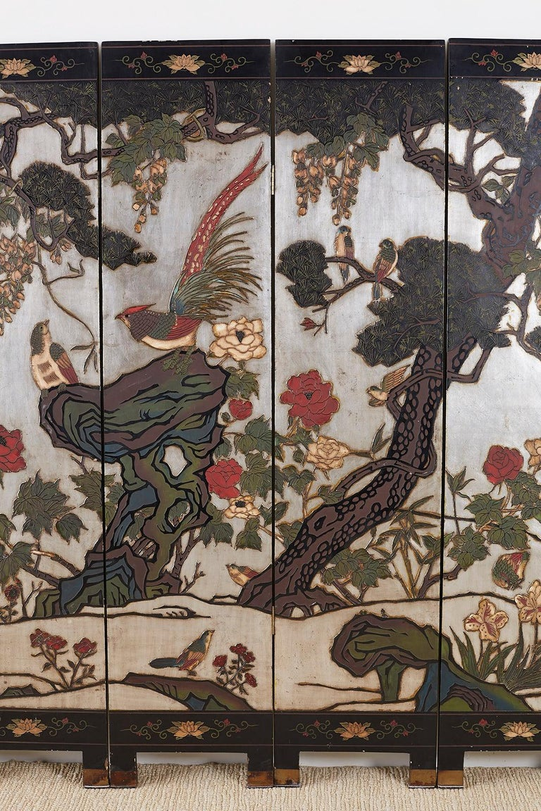 Lacquered Chinese Export Six-Panel Silver Leaf Coromandel Screen For Sale