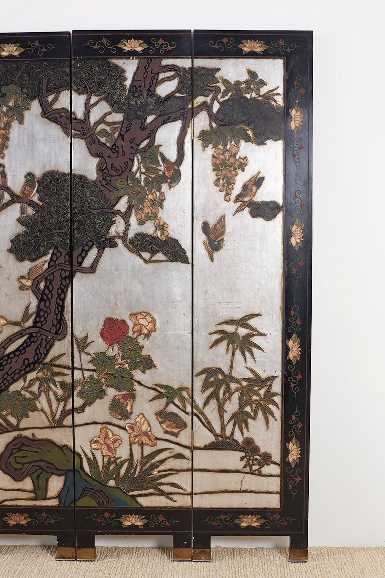 Chinese Export Six-Panel Silver Leaf Coromandel Screen In Good Condition For Sale In Oakland, CA