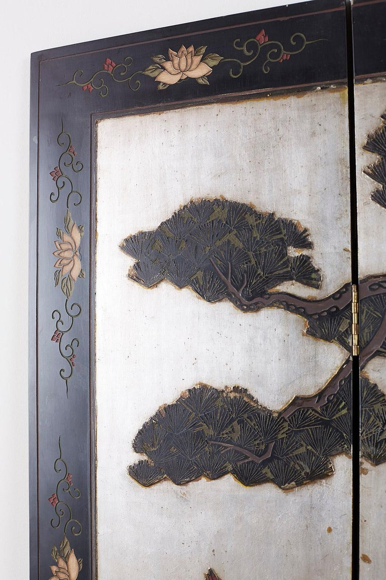 20th Century Chinese Export Six-Panel Silver Leaf Coromandel Screen For Sale