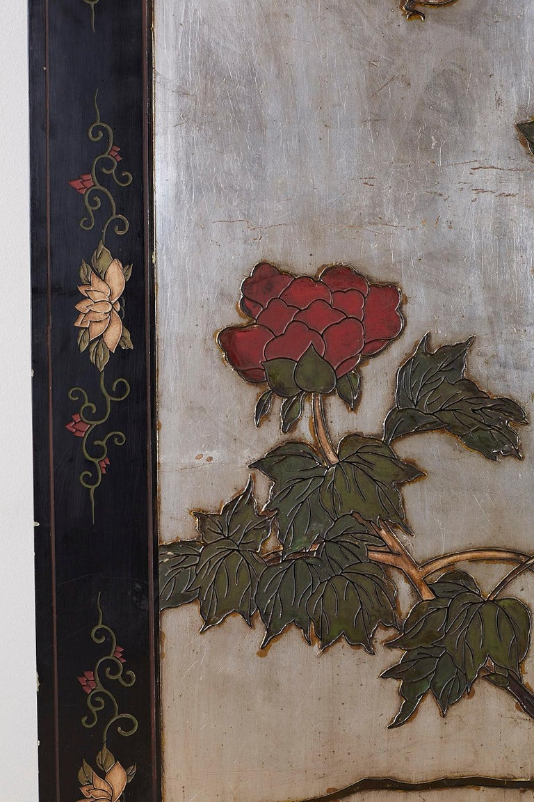 Chinese Export Six-Panel Silver Leaf Coromandel Screen For Sale 1
