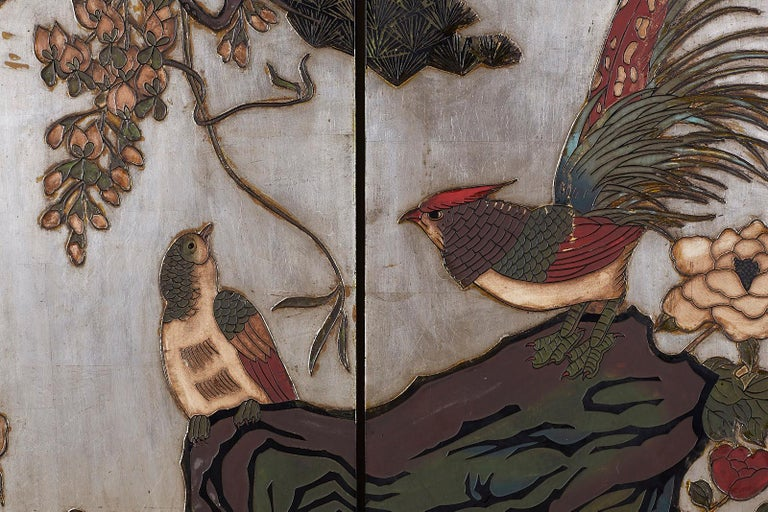 Chinese Export Six-Panel Silver Leaf Coromandel Screen For Sale 3