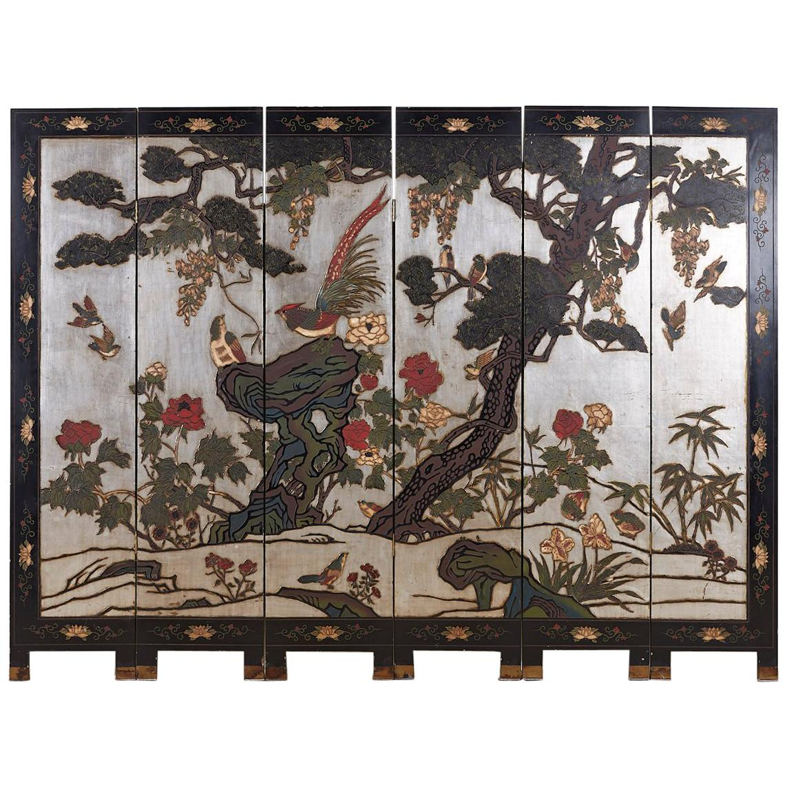 Chinese Export Six-Panel Silver Leaf Coromandel Screen