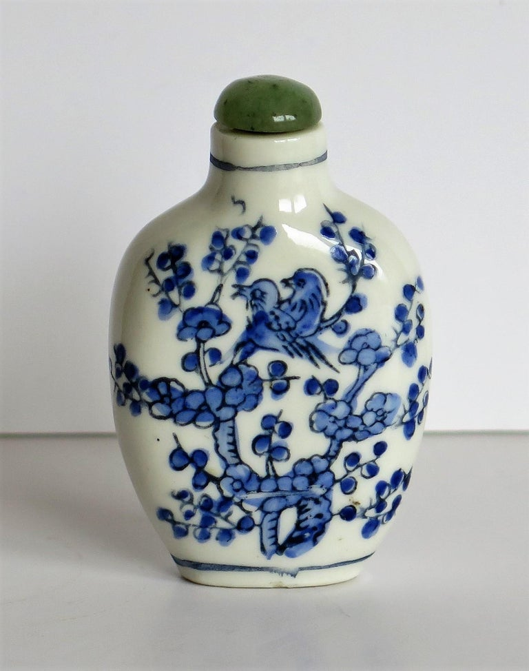 Chinese Export Snuff Bottle Porcelain Hand Painted with Hardwood Stand For Sale 5