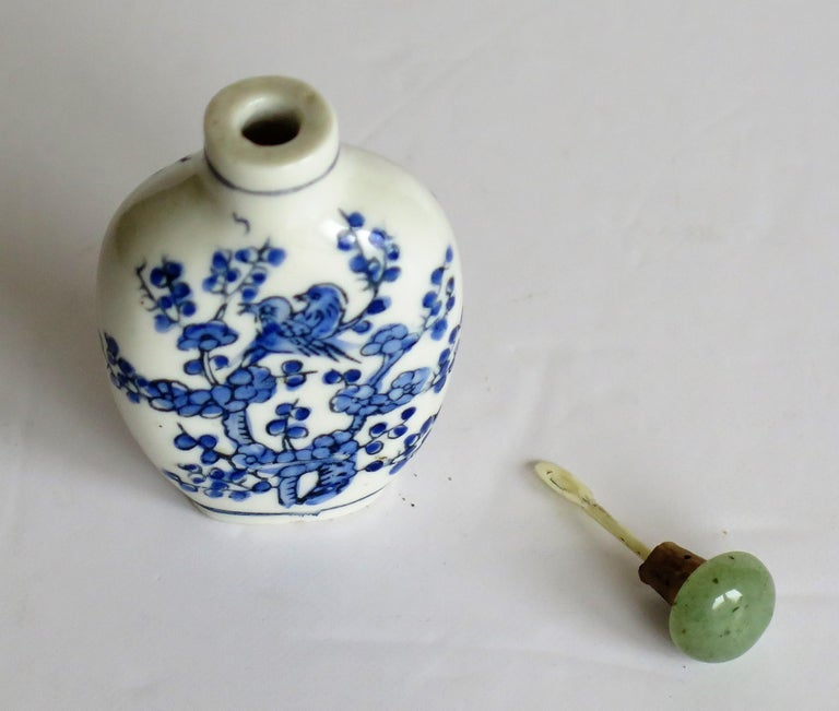 Chinese Export Snuff Bottle Porcelain Hand Painted with Hardwood Stand For Sale 6