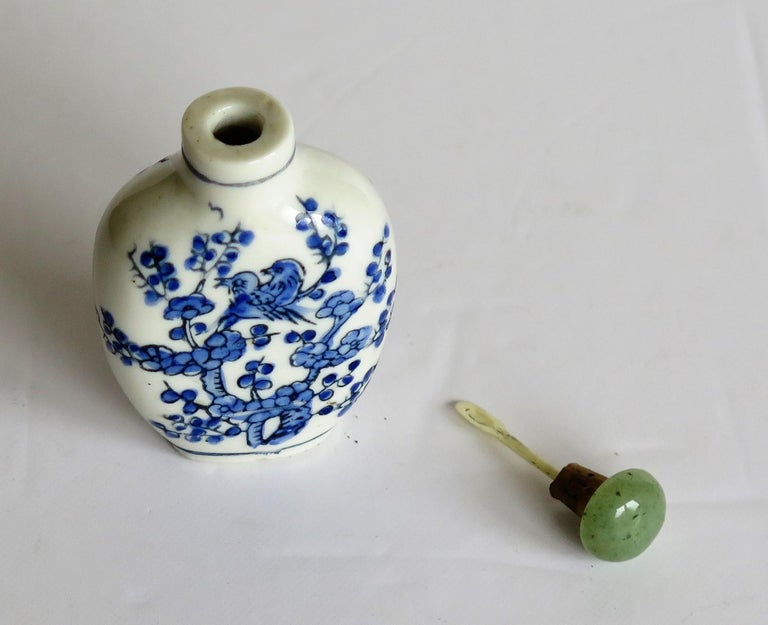 Chinese Export Snuff Bottle Porcelain Hand Painted with Hardwood Stand For Sale 8