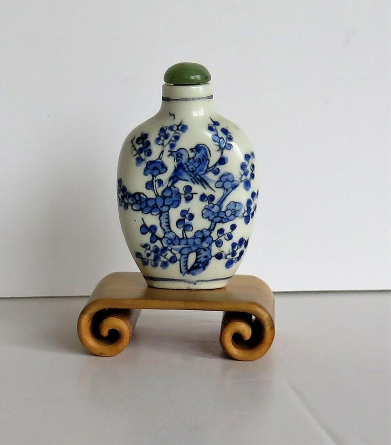 Hand-Crafted Chinese Export Snuff Bottle Porcelain Hand Painted with Hardwood Stand For Sale