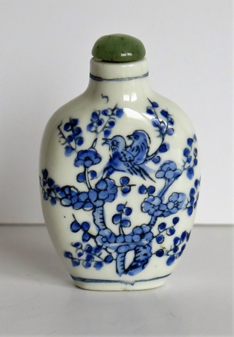 20th Century Chinese Export Snuff Bottle Porcelain Hand Painted with Hardwood Stand For Sale