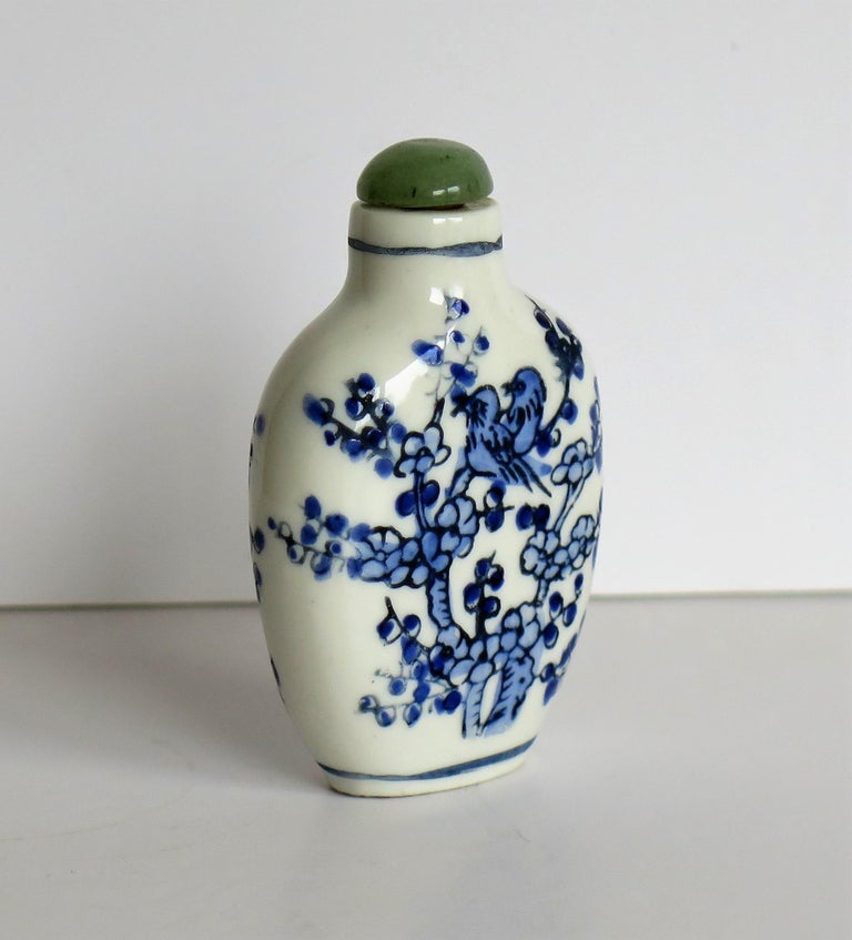 Chinese Export Snuff Bottle Porcelain Hand Painted with Hardwood Stand For Sale 3