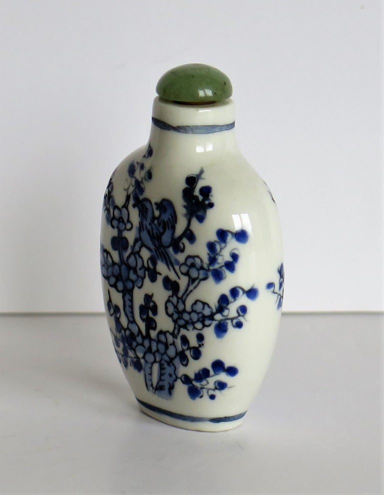 Chinese Export Snuff Bottle Porcelain Hand Painted with Hardwood Stand For Sale 4