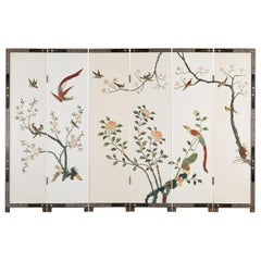 Chinese Export Soapstone White Lacquered Coromandel Screen