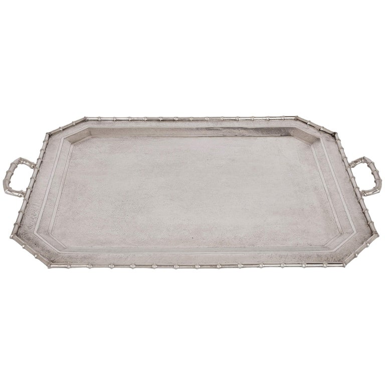 Antique Chinese export silver tray For Sale