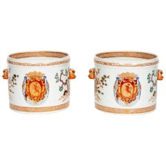 Chinese Export Style Armorial Cachepots by Samson