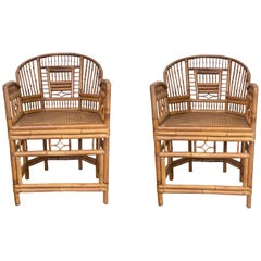 Chinese Export Style Bamboo Armchairs, a Pair