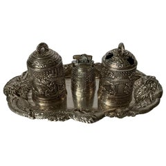 Chinese Export Style Silver 3 Piece Smoking Set and Tray