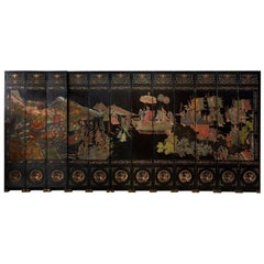 Chinese Export Twelve Panel Coromandel Screen of Xiwangmu