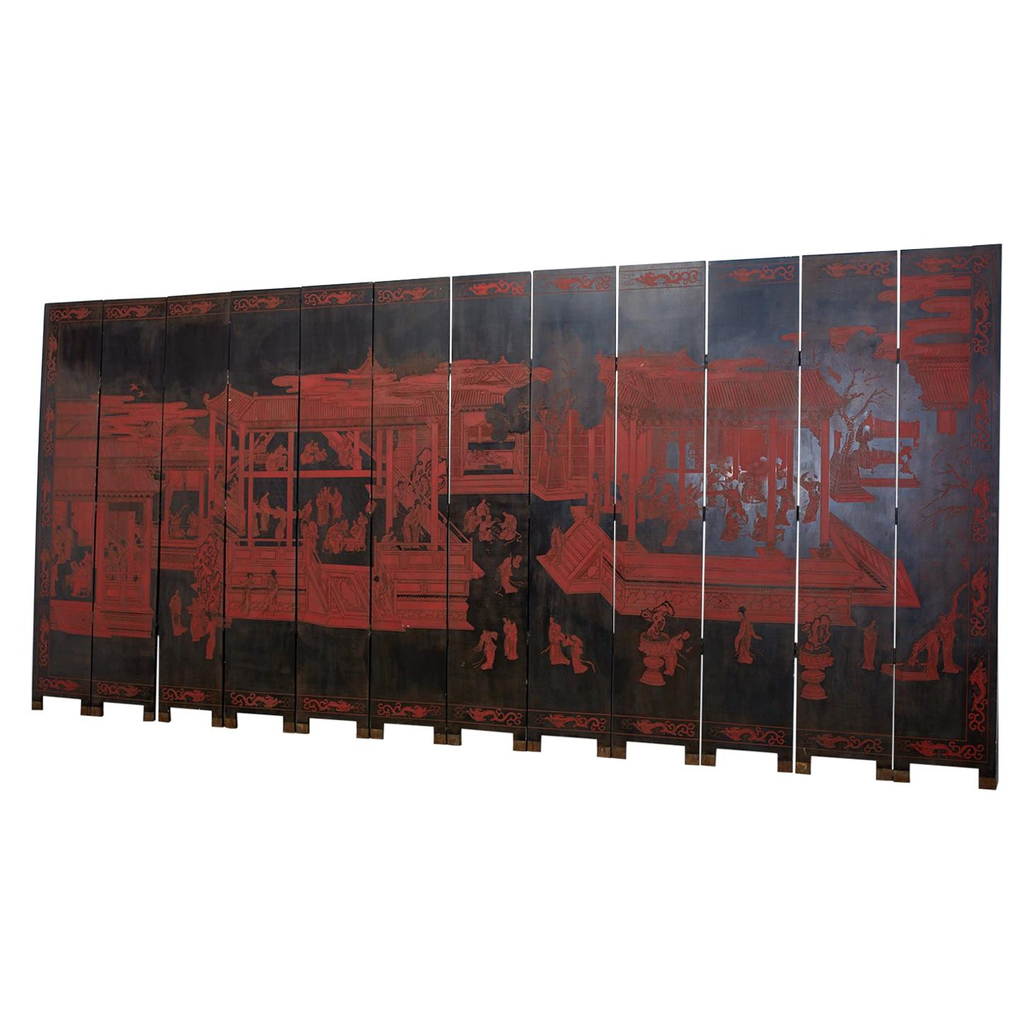 Chinese Export Twelve Panel Coromandel Style Screen