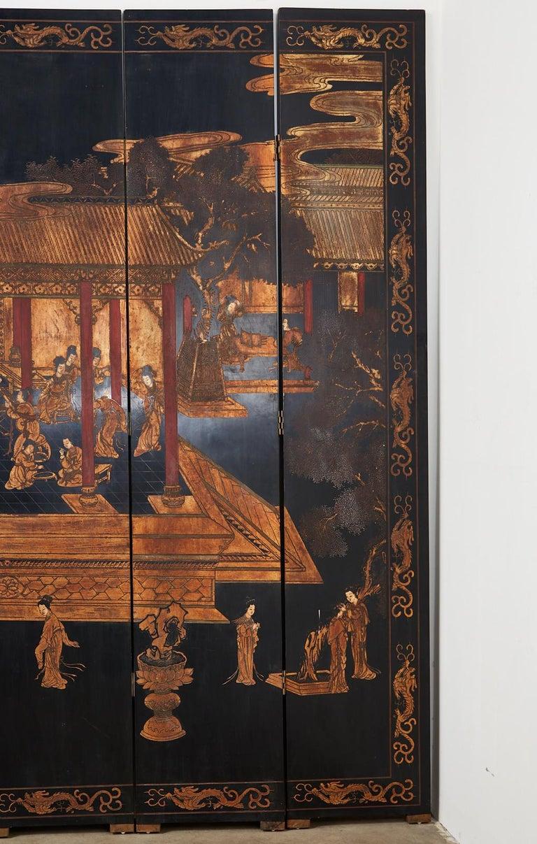 Chinese Export Twelve-Panel Lacquered Coromandel Screen For Sale 8