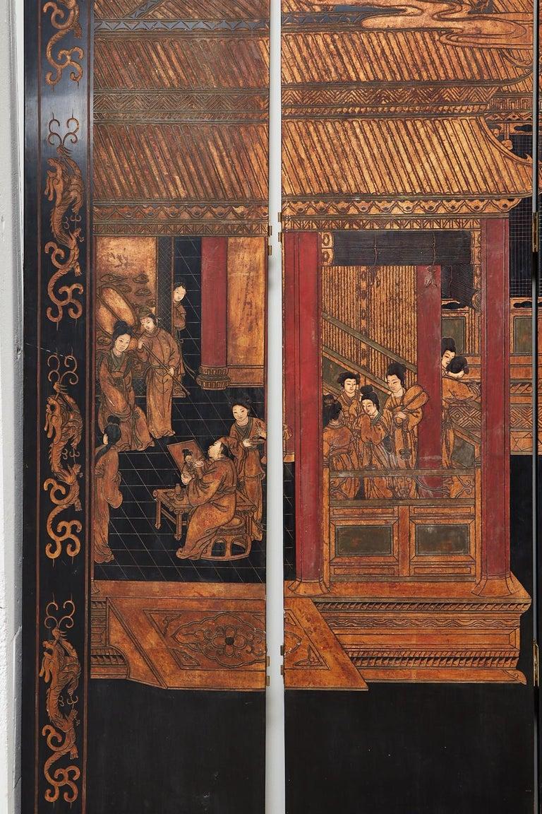 Chinese Export Twelve-Panel Lacquered Coromandel Screen For Sale 9