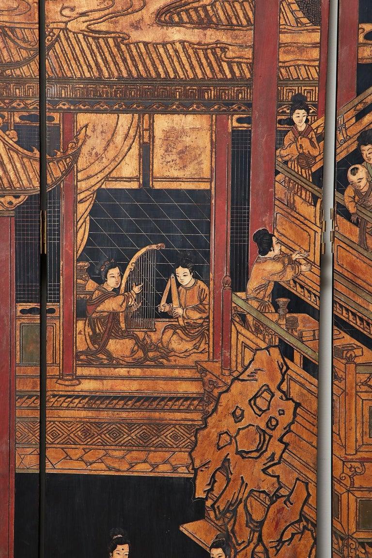 Chinese Export Twelve-Panel Lacquered Coromandel Screen For Sale 10