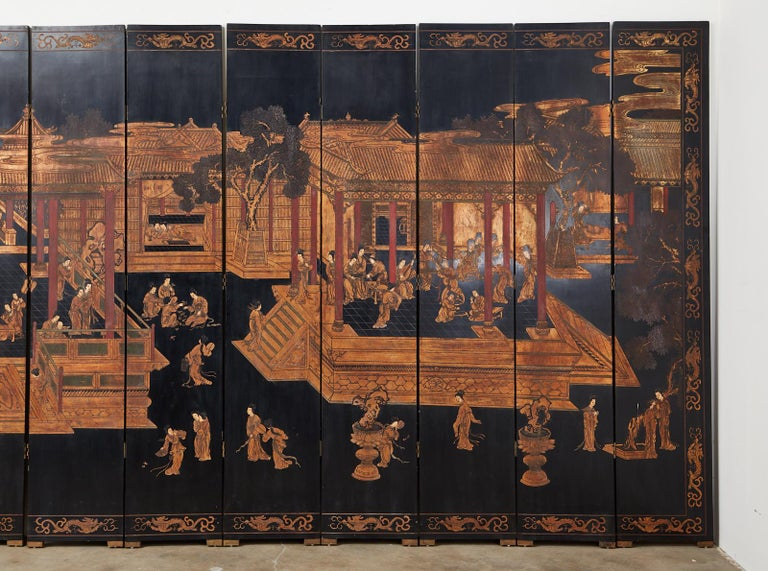 20th Century Chinese Export Twelve-Panel Lacquered Coromandel Screen For Sale