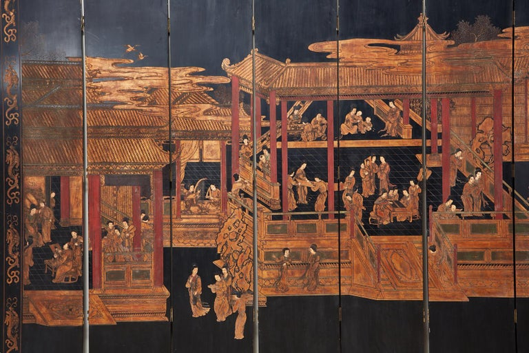 Brass Chinese Export Twelve-Panel Lacquered Coromandel Screen For Sale