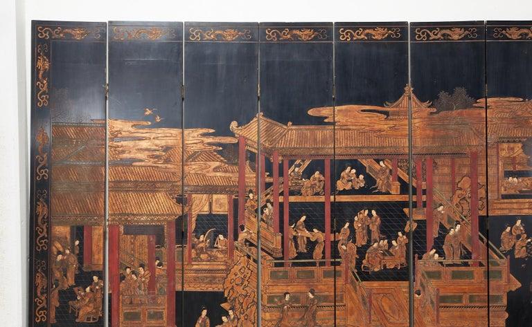 Chinese Export Twelve-Panel Lacquered Coromandel Screen For Sale 1
